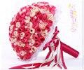 2017 Новый Arival Цветы Дешевые Романтический Розовый и Красный Люкс Для Невесты Ручной Работы Искусственный Вырос Свадебные/Невесты Букеты