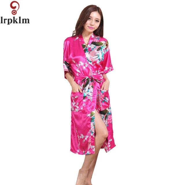 Online Shop Womens Chinese Kimono Long Satin Robe faux Silk Night ...