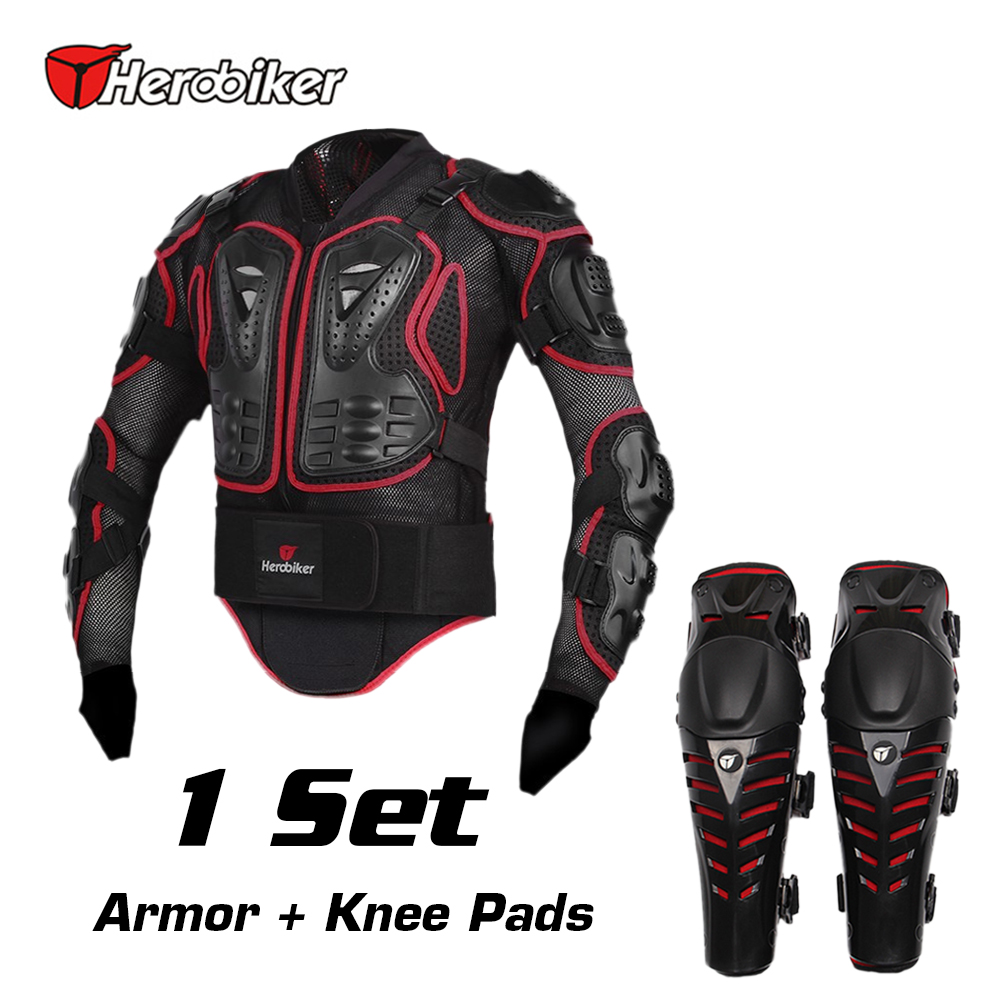 HEROBIKER Motorcycle Riding Armor Jacket + Knee Pads Motocross Off-Road Racing Body Elbow Chest Protective Gear Protectors Set scoyco motorbike motorcycle motocross racing body armor riding protective gear absorbent perspiration breathable shirt stretch