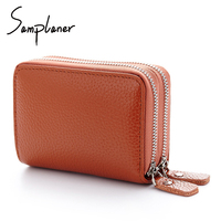 Doube Zipper Genuine Leather Unisex Card Holder Wallet Large Credit Card Case ID Holders Women Coin