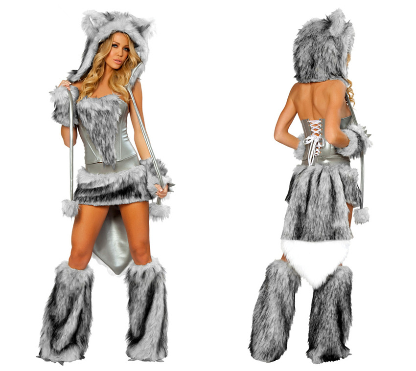 Cheap Adult Halloween Animal Costume Outfits Cute Women Cosplay Costume Panda Cat Fox Monkey Tiger Pikachu Wolf Costume for Sale