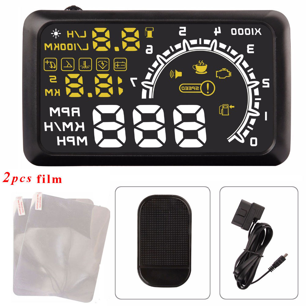 Hot Car Head Up Display HUD Projector 5.5 Inch OBDII OBD 2 Interface KM/h MPH Speeding Warning Alarm System for Ford Toyota a900 3 5 inch car hud head up display obdii interface