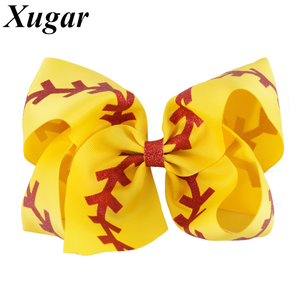 Ha hair bow ribbon wholesale - 7 New Arrival Baseball Hair Bow Yellow Ribbon With Red Glitter For Cheerleaders Large