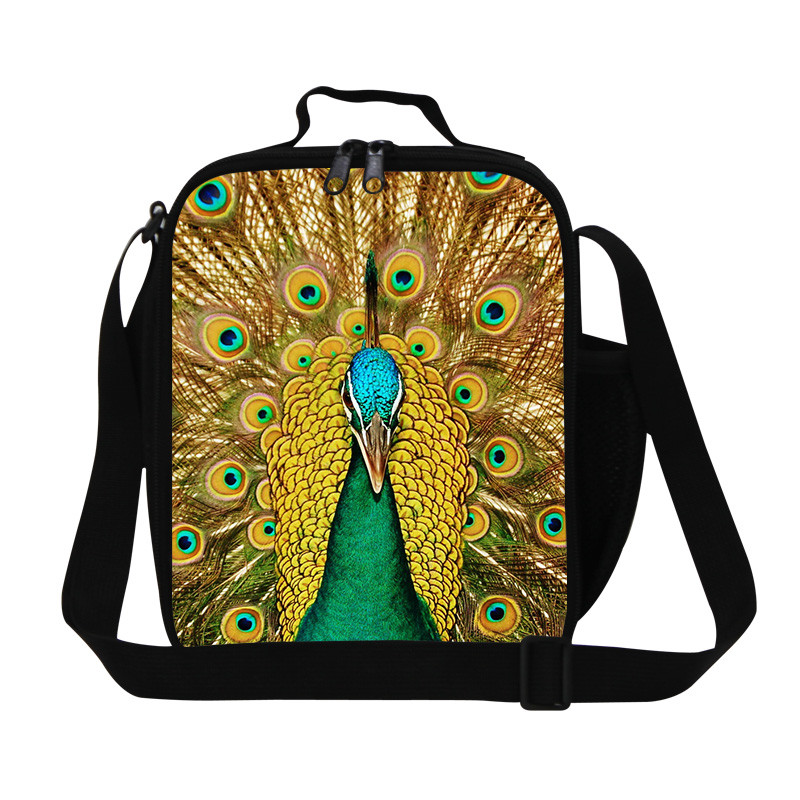 Peacock Trendy Animal Dinosaur Lunch Bag Men Food Thermal Bag Small Zoo Lunchbox for Boys Children Outdoor Lancheira Picnic Bag