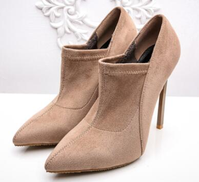 2018 spring and autumn new women flock pointed toe high heel shoes Fashion super high thin heel shoes High heels Female shoes 2019 spring autumn sweet knee high 9cm super high heel women boots thin women shoes party shoes it s green apricot and red
