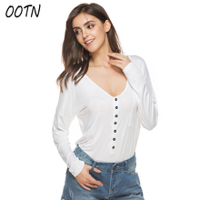 OOTN Casual T Shirt Women Off White Tops Female Spring Autumn T-Shirt Loose Long Sleeve Tshirts O Neck Cotton Knitted Button