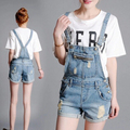 Summer denim shorts strap loose Siamese Bib,women boyfriend cotton straight short overalls jeans plus size
