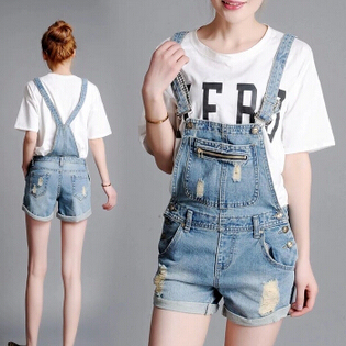 Summer denim shorts strap loose Siamese Bib,women boyfriend cotton straight short overalls jeans plus size plus size short overalls