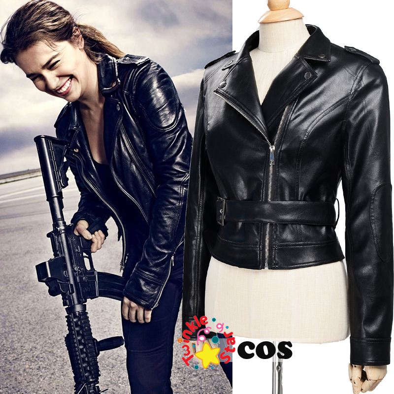 Terminator Genisys cosplay motorcycle font b women b font leather font b jacket b font 2017