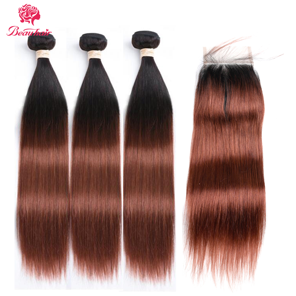 Beau Hair Straight Ombre 3 Bundles with Closure Deals T1B/33# Human Hair Bundles With Closure Malaysian Hair Weave Non-remy Hair