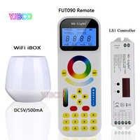 2.4 ghz remoto fut090; wifi ibox1; miboxer ls1, 4 em 1 inteligente controlador led para única cor, cct, rgb rgbw tira, dc12v 24 v 15a