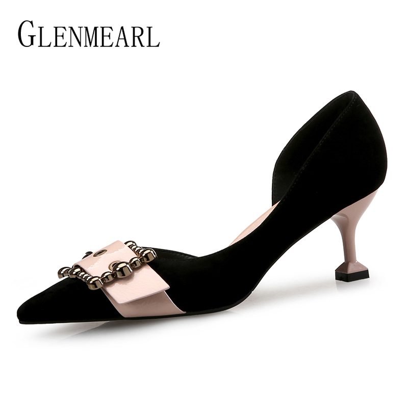 Women Pumps Suede High Heels Shoes Soft Leather Heels Shoes Woman Buckle Pointed Toe Brand Color Mixed Single Women Pumps 45 zapatos mujer pointed toe thin high heels sandals mixed color single shoes woman stiletto dress women pumps 2018