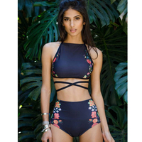 High Waist Bikini Set Women Sexy Bikini Flower Swimwear Vintage Halter Neck Swimsuit Female Biquini Bain