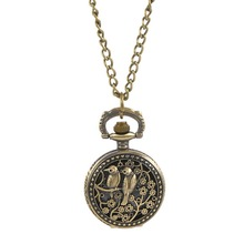 FUNIQUE Fashion Necklace Chain Pocket Watch Hollow Love Birds Battery Bronze Tone Clock Pendant  Steampunk Watch 83cm