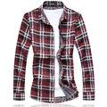 Free shipping plus size military men plaid color cotton redTurn-down Collar long-sleeve casual shirt bust 144 cm M-7XL 6XL 5XL
