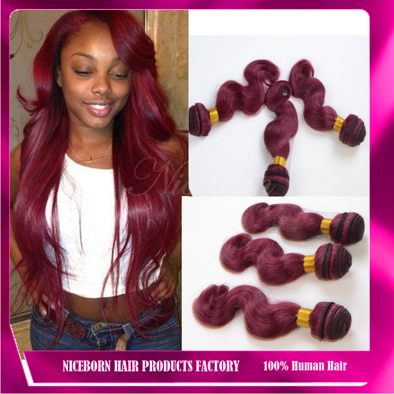 Best Selling 1pc Burgundy Brazilian Hair 99j Red Wine Colored Hair