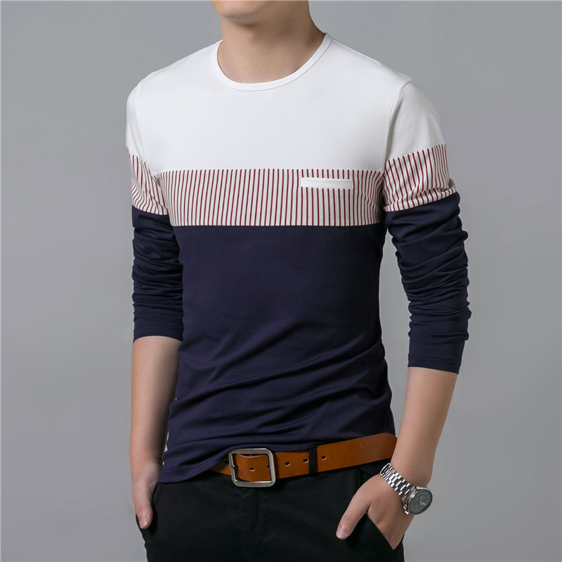 COODRONY T-Shirt Men 17 Spring Summer New Long Sleeve O-Neck T Shirt Men Brand Clothing Fashion Patchwork Cotton Tee Tops 7622 12