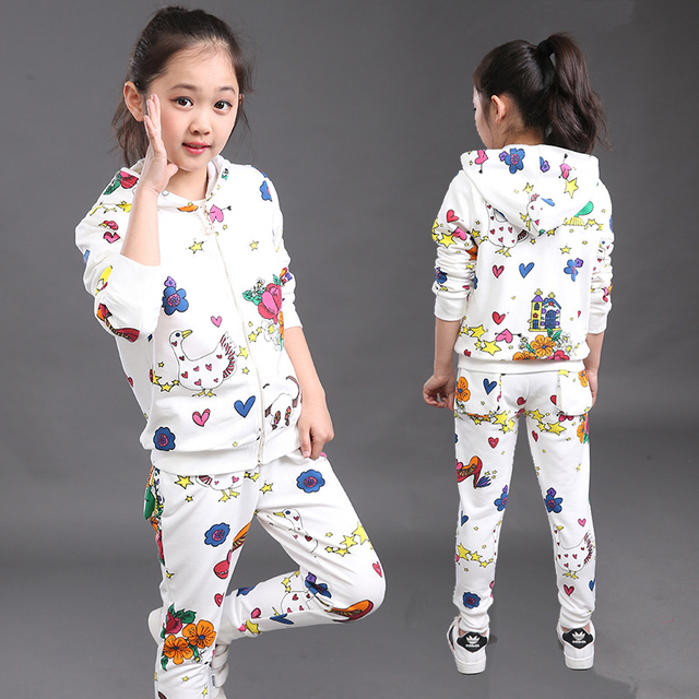2017 New Spring And Autumn Baby Girl Clothing Sets Lovely Printing Leisure Fashion Cotton Children Clothing Sports Suits