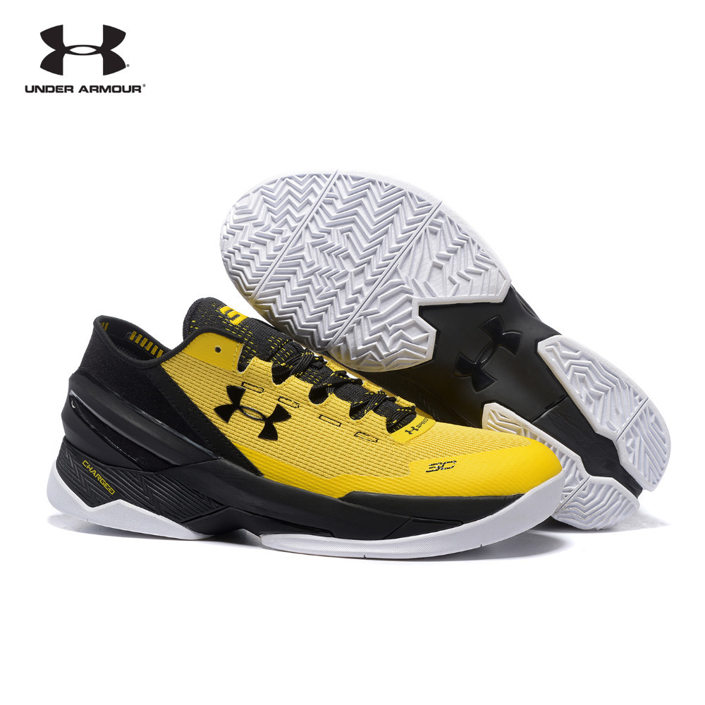Under Armour Mens Curry 3 Basketball Shoes Black Yellow Sports Breathable