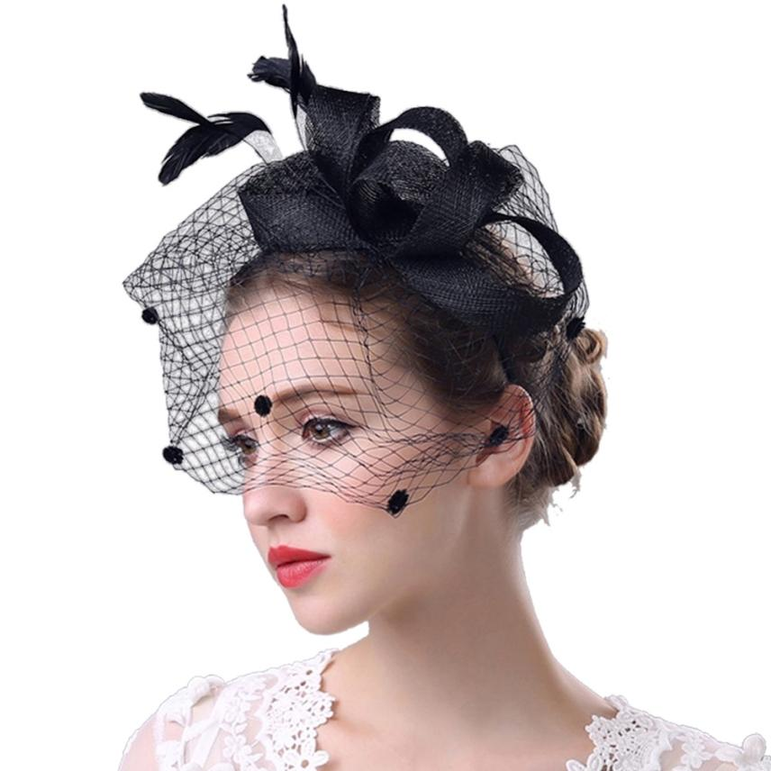 Hot Selling  Fashion Women Fascinator Penny Mesh Hat Ribbons And Feathers Wedding  Hat For Women   7.3(China)