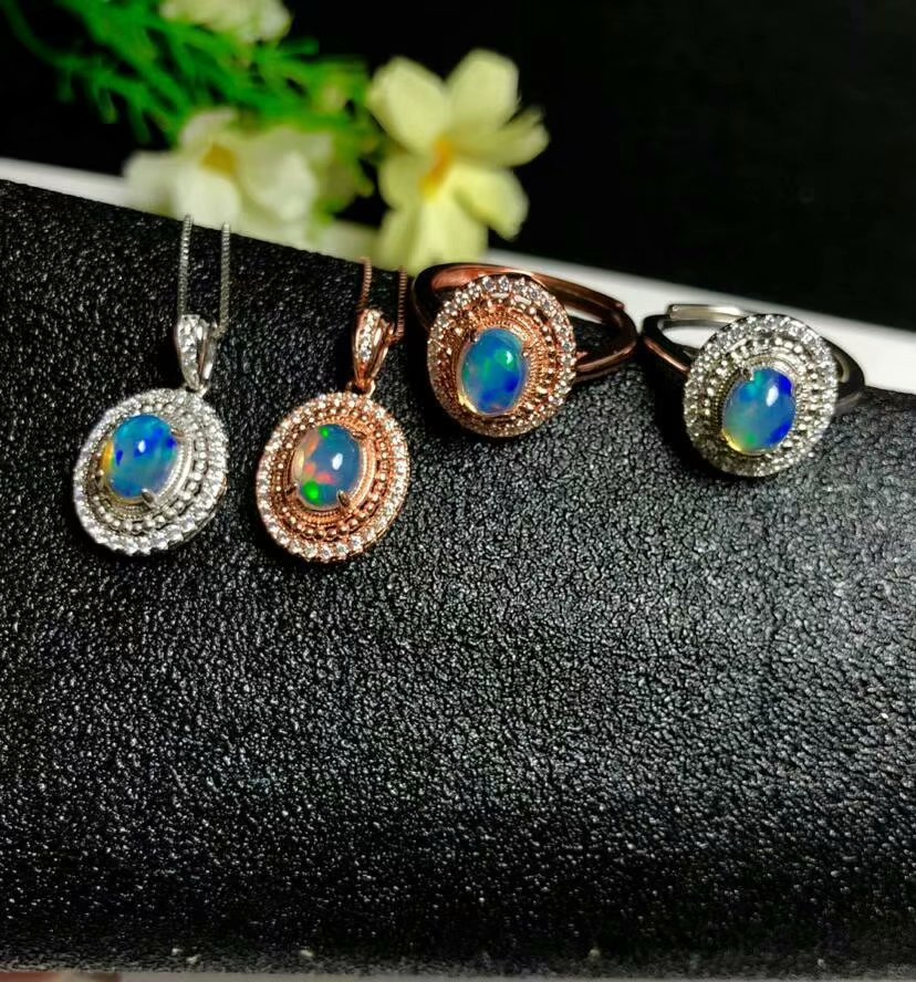 shilovem 925 sterling silver Natural opal Rings open pendants fine Jewelry women trendy wedding gift open