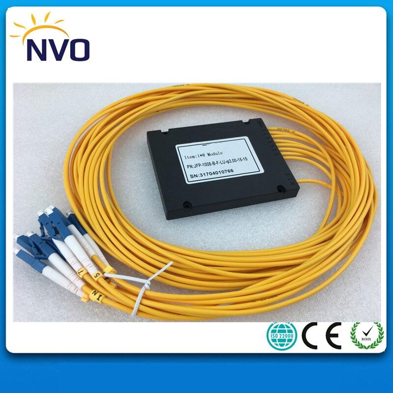 FTTTH 1*8 Fiber PLC Splitter,ABS Box,Dia:3.0mm,L:1.5M,LC/UPC,ABS Package,GPON EPON 1x8 ABS Box PLC Fiber Module