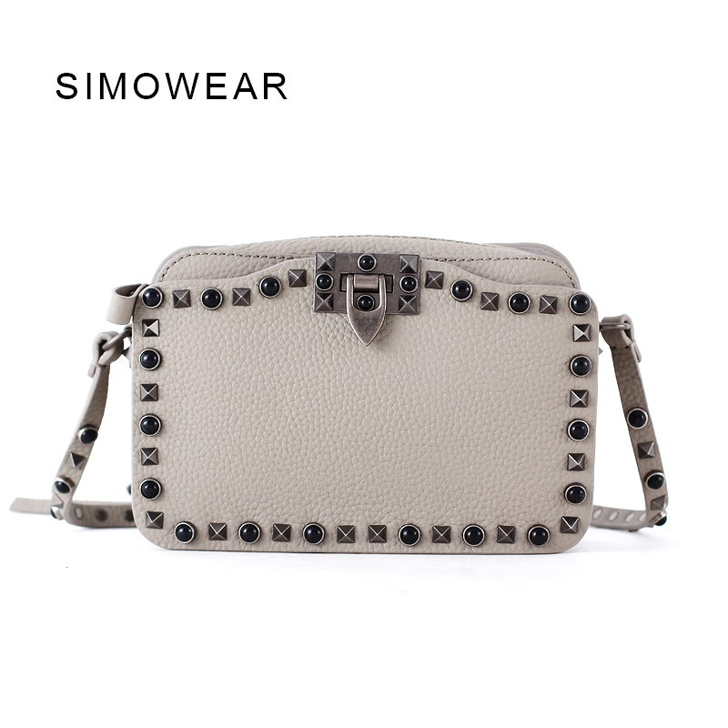 SIMOWEAR 2017 Fashion Women Shoulder Bag Genuine Leather Rivet Handbag Mini Flap Bag Crossbody High Quality genuine leather studded satchel bag women s 2016 saffiano cute small metal rivet trapeze shoulder crossbody bag handbag