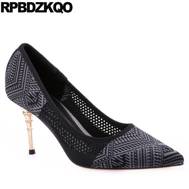 Rhinestone Chic Sexy Multi Colored Metal Heels Stiletto Female 3 Inch Shoes  New Size 4 34 Pointed Toe China Suede Elegant Women-in Women s Pumps from  Shoes ... a1600ab1a558