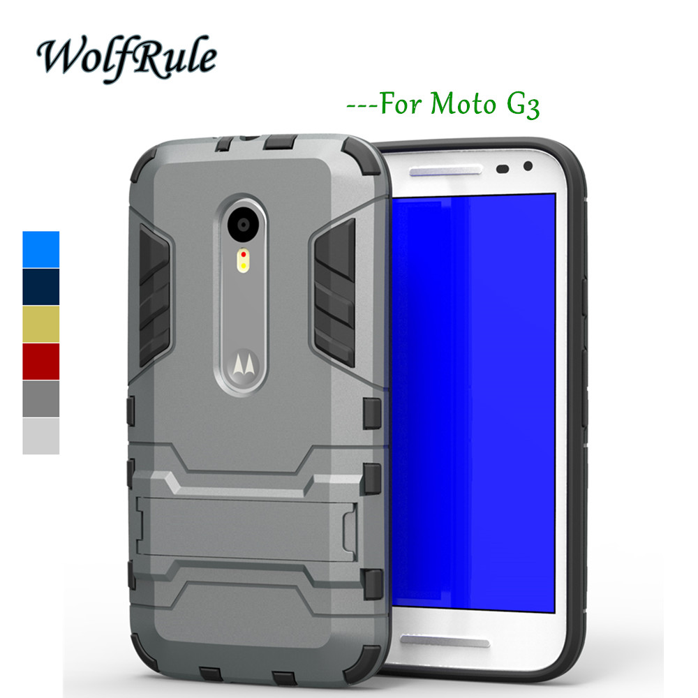 WolfRule Anti-knock For Case Moto G3 Cover Soft Silicone + Light Plastic Phone Stand Case For Moto G3 Case For Motorola moto G3<