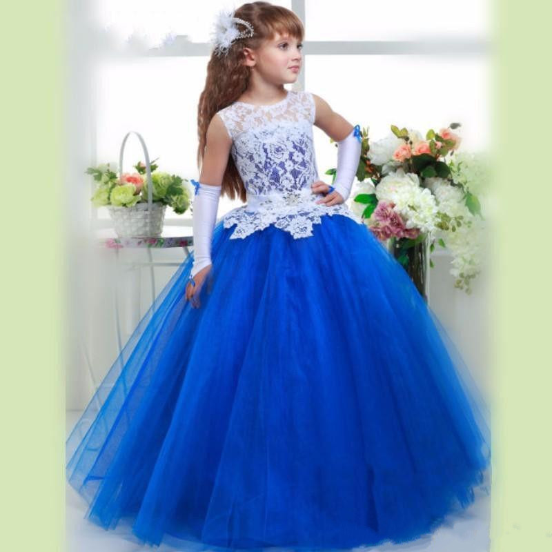 2017 Tutu Royal Blue White Lace Flower Girl Dresses A-line Bodice Sheer Girls Birthday Pageant Dress First Communion Gowns blue pageant dresses for little girls a line spaghetti straps solid appliques crystal lace up flower girl first communion gowns