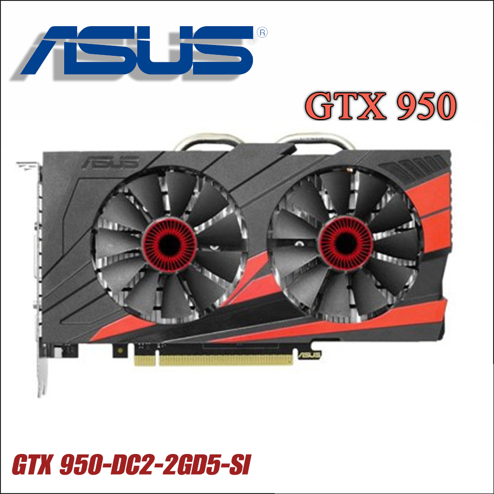 used ASUS PC Graphics Card Original GTX 950 2GB 128Bit GDDR5 Video Cards for nVIDIA VGA Cards Geforce GTX950 Hdmi Dvi game