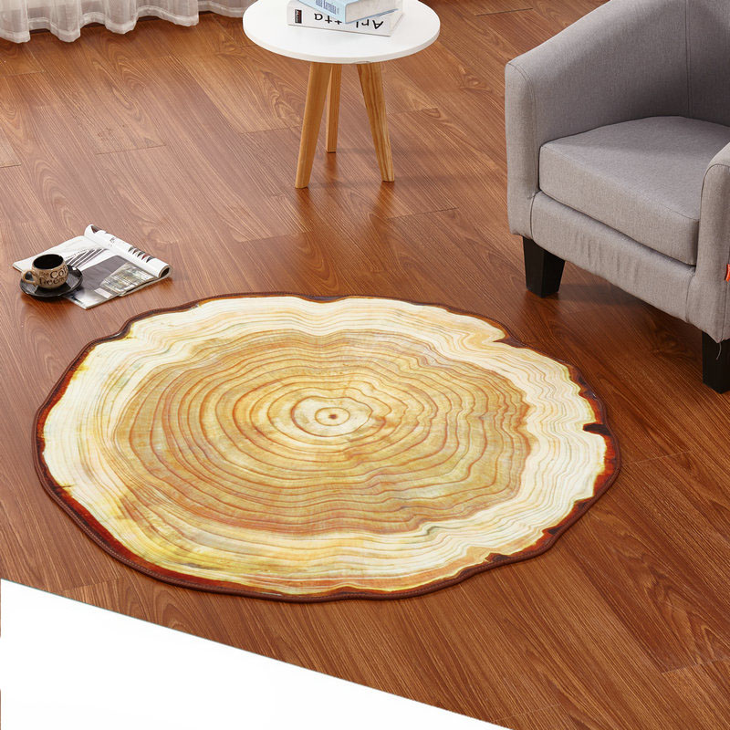 Wooden Study Room: Antique Wood Tree Annual Ring Round Environmental Carpet