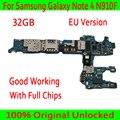 Версия ЕС для Samsung Galaxy Note 4 N910F материнская плата  оригинальная разблокированная для Note 4 N910F логическая плата + полные чипы  операционная сист...