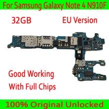 ЕС Версия для samsung Galaxy Note 4 N910F материнская плата, оригинальный разблокирован для Note 4 N910F логическая плата + полные чипы, бесплатная доставка