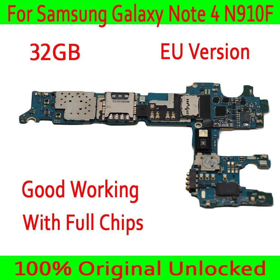 EU Version For Samsung Galaxy Note 4 N910F font b Motherboard b font Original unlocked for