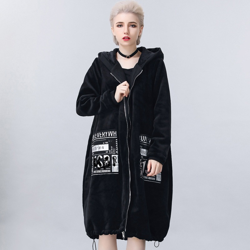 2017 Fashion Women warm thicken gold velvet long trench coat winter fleece hooded letter printed outwear overcoat plus size 1823 women lady thicken warm winter coat hood parka overcoat long outwear jacket