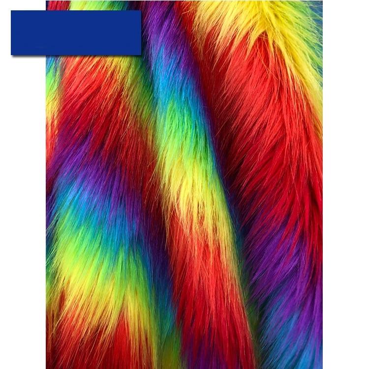 Jacquard Fox Fur Imitation Rabbit Fur Fabric Colorful Plush Fabrics