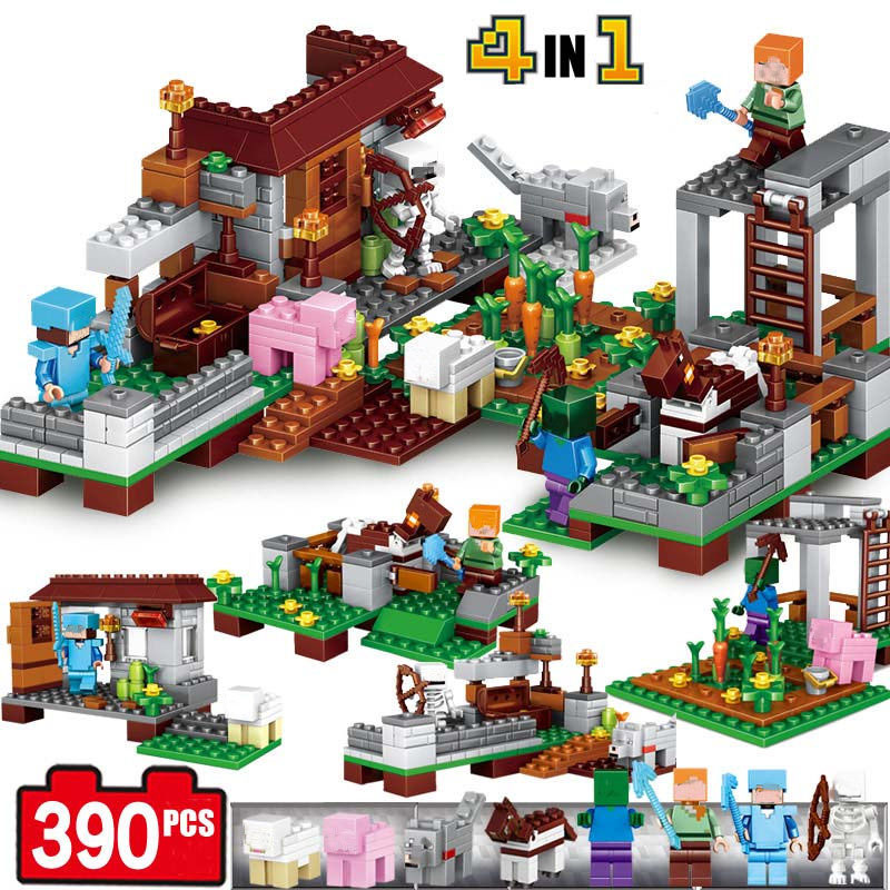 4Pcs/set Minecraft Sword Espada Models Figures Building Blocks Set Figures for Kids Toys Legoe Minecrafted Blocks brinquedos