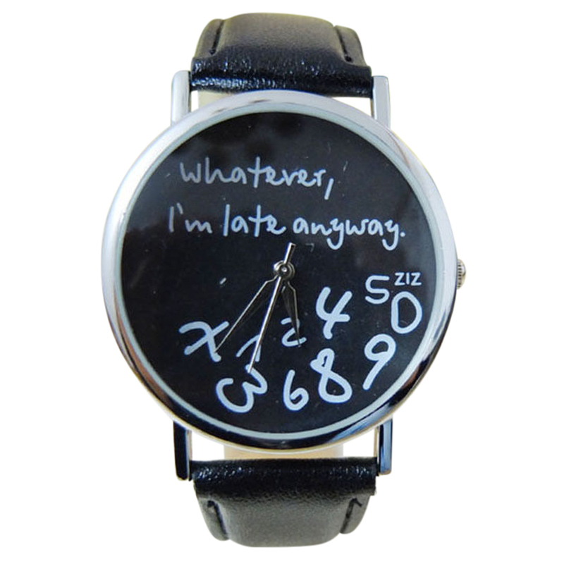 Men's Watches Amiable Ycys-whatever I Am Late Anyway english Alphabet Cartoon Digital Leather Wrist Watch Black&white Watches