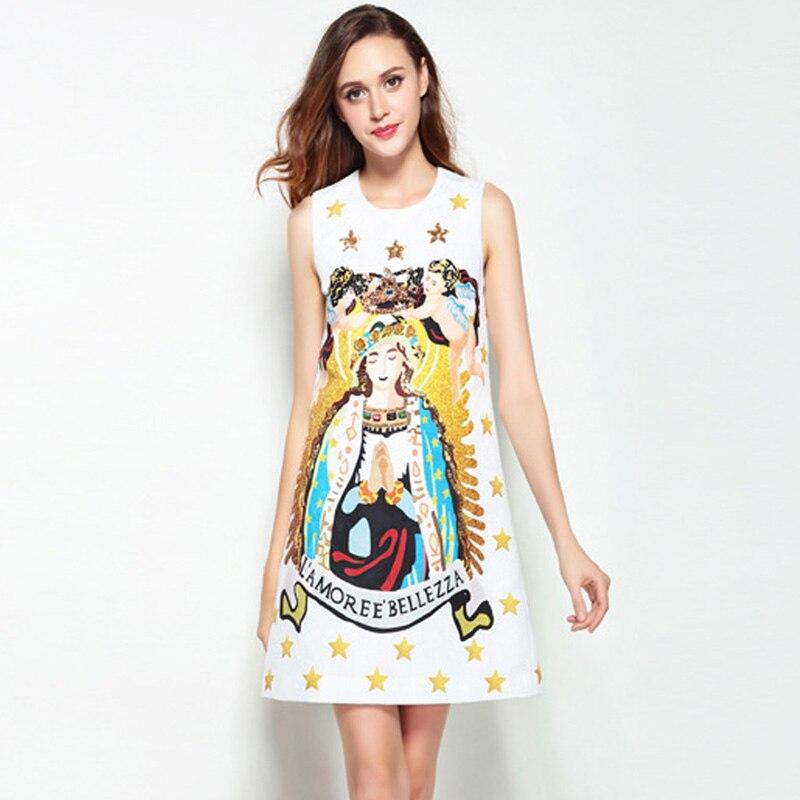 Étoiles Blanc Mode Appliques Mini Femmes Sans Piste Jacquard Madonna Imprimer De Robe D'été Perles 2018 Sequins Réservoir À Manches BoexdCWr