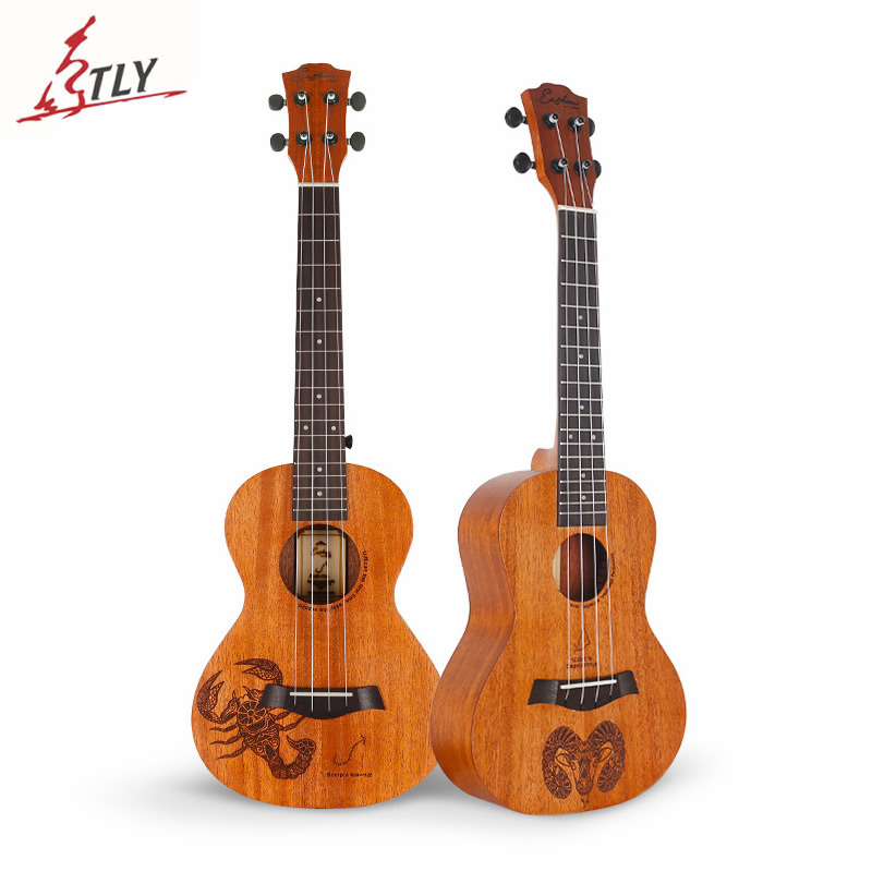 Eastun 23 Concert Mahogany Ukelele Rosewood Fingerboard 4 Strings Hawaiian Mini Guitar 12 Constellation Ukulele Uke magnum live in concert