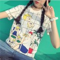 ulzzang summer Harajuku College Wind holiday picnic plaid short-sleeved T-shirt printing loose women eat bread