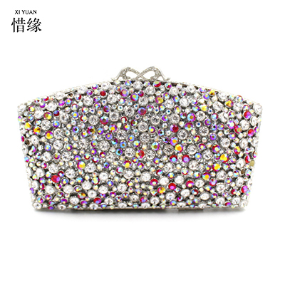 XIYUAN BRAND Flower colorful Rhinestone Crystal Clutch Evening Bags for Womens Party Wedding Bridal Crystal Handbag purses gifts gradual change colours full of rhinestone refinement lady for party and wedding evening clutch bags womens designers purses