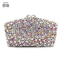XIYUAN BRAND Flower colorful Rhinestone Crystal Clutch Evening Bags for Womens Party Wedding Bridal Crystal Handbag purses gifts