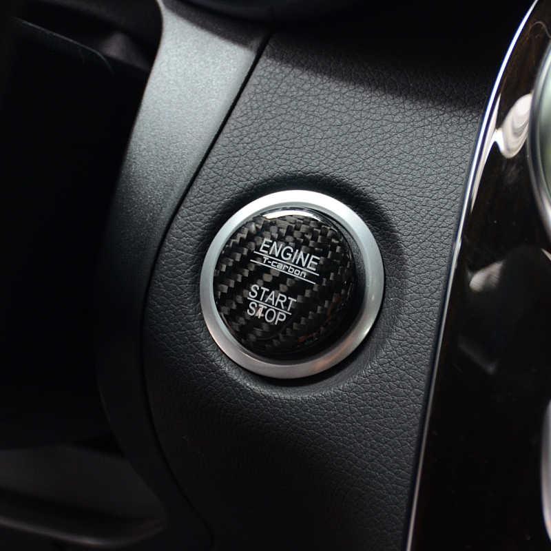 Control de fibra de carbono botón de parada de arranque cubierta decorativa para Mercedes Benz GLA X156 CLA C117 2013-2018