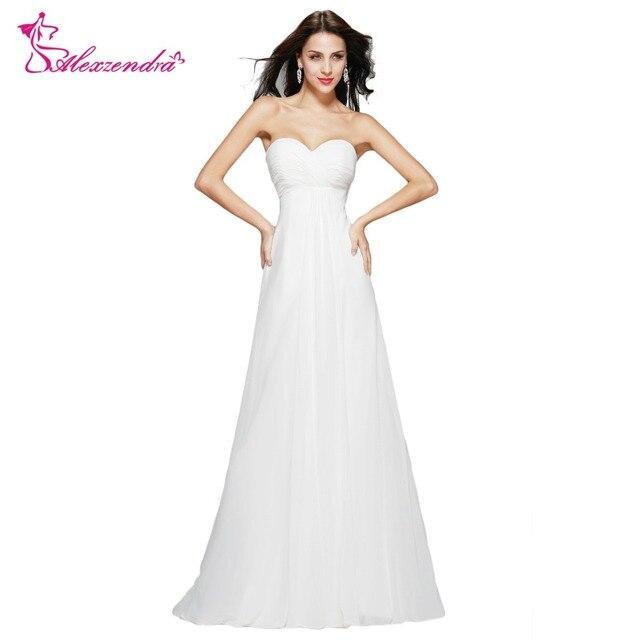 Alexzendra Sweetheart A Line White Dress Chiffon Long Prom Dresses Simple  Party Dresses Plus Size Dress 575baf430511