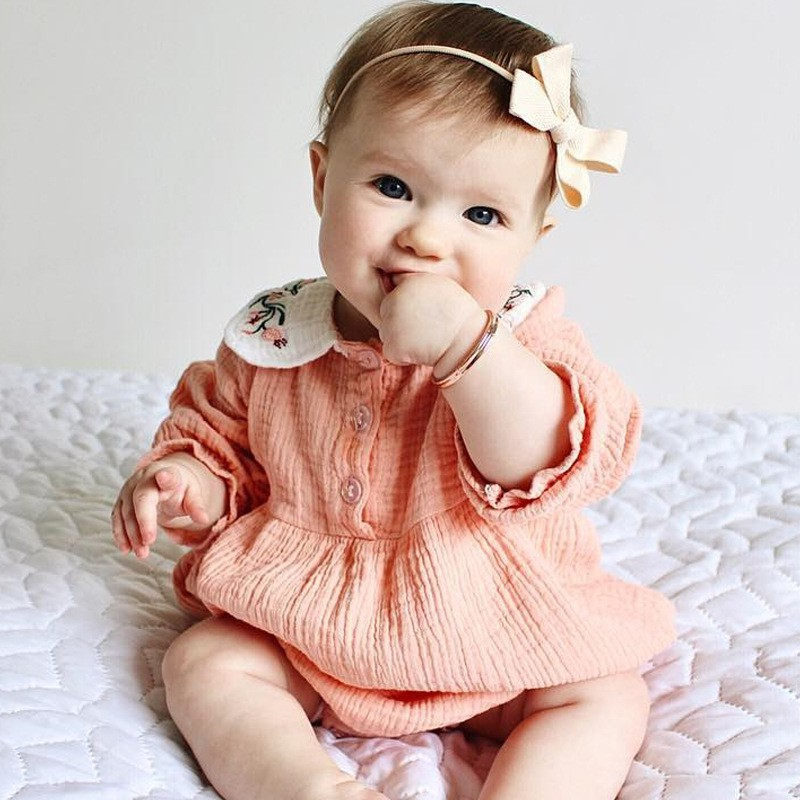 Newborn Baby Peter Pan Collar Girl Bodysuit Infant cotton jumpsuit Hats Long Sleeve Toddler Kids Clothing Sets Bodysuit sheer mesh bishop sleeve bodysuit