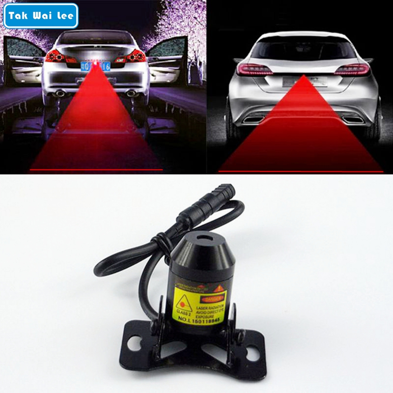 Tak Wai Lee 1Pcs Car Warning Laser Tail Fog Light Auto Brake Parking Lamp Rearing Lights External Car Styling Source Red Color стоимость