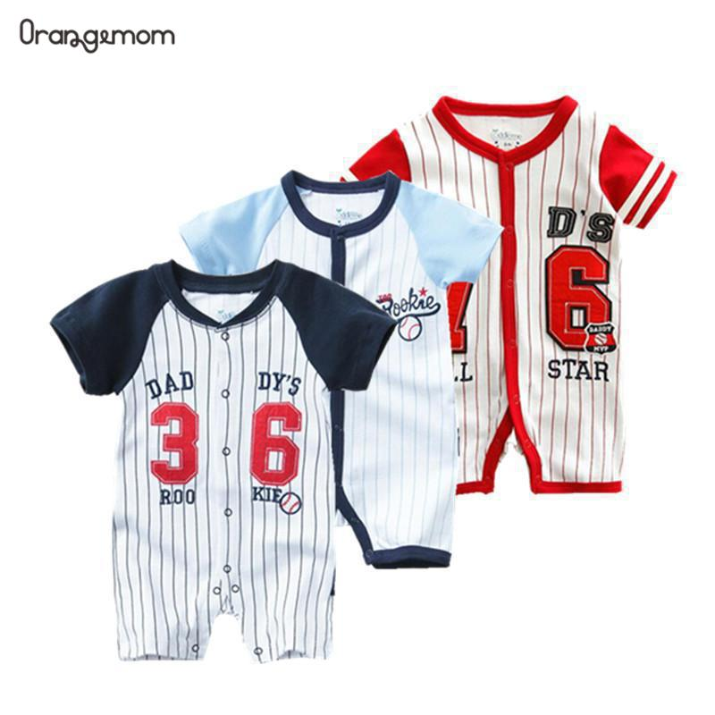 Fashion 2020 Summer Football Sport Baby Bodysuit One Pieces Jumpsuits  Body For Newborns - 2 Years Old Kids Suits Vestidos