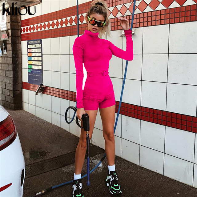 Kliou new women fluorescence solid color playsuits 2018 autumn female full sleeve zipper fly turtleneck skinny casual bodysuits